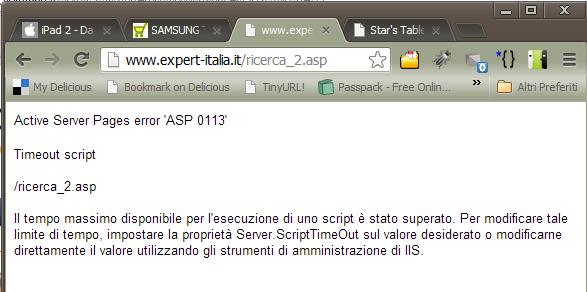Schermata di errore del sito expert-italia.it